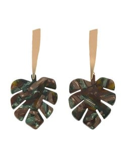 Acrylic Palm Leaves Design Women Fashion Statement Earrings - Black