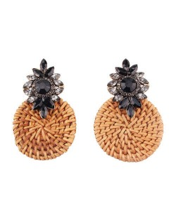 Bamboo Weaving Rhinestone Floral Design Vintage Fashion Earrings - Black
