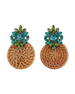 Bamboo Weaving Rhinestone Floral Design Vintage Fashion Earrings - Green