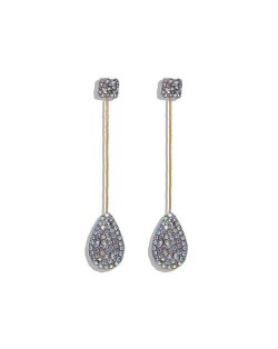 Rhinestone Shining Dangling Waterdrop Event Style Women Statement Earrings