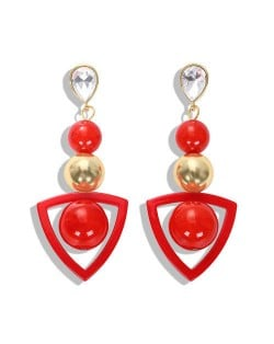 Resin Gems Dangling Beads Cluster Design Women Fashion Earrings - Red