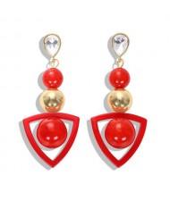 Resin Gems Dangling Beads Cluster Design Women Fashion Earrings - Red