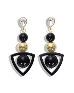 Resin Gems Dangling Beads Cluster Design Women Fashion Earrings - Black