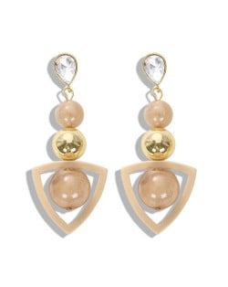 Resin Gems Dangling Beads Cluster Design Women Fashion Earrings - White