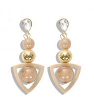 Resin Gems Dangling Beads Cluster Design Women Fashion Earrings - White