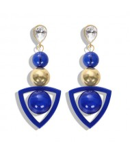Resin Gems Dangling Beads Cluster Design Women Fashion Earrings - Royal Blue