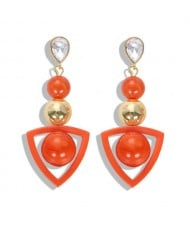 Resin Gems Dangling Beads Cluster Design Women Fashion Earrings - Orange