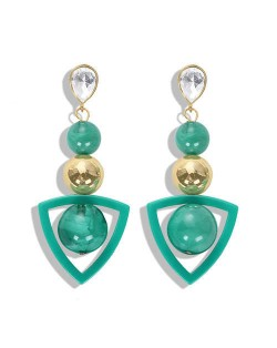 Resin Gems Dangling Beads Cluster Design Women Fashion Earrings - Green