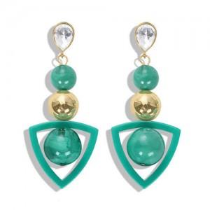Resin Gems Dangling Beads Cluster Design Women Fashion Earrings - Green