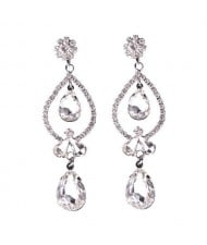 Rhinstone Waterdrops Inspired Hollow Design Women Fashion Statement Earrings - Transparent