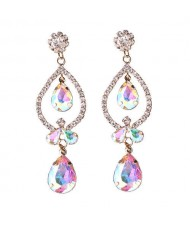 Rhinstone Waterdrops Inspired Hollow Design Women Fashion Statement Earrings - Colorful