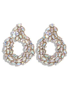 Rhinestone Leaves Hoop Design High Fashion Women Costume Earrings
