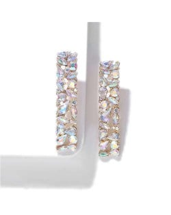 Shining Rhinestone Bar Shape Women Statement Earrings