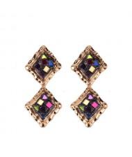 Colorful Gems Embellished Dual Squares Design Vintage Fashion Women Earrings
