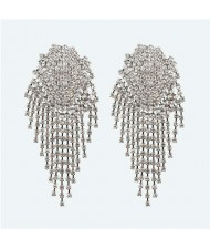 Glistening Rhinestone Bold Fashion Women Tassel Earrings - White