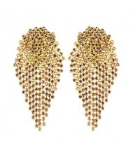 Glistening Rhinestone Bold Fashion Women Tassel Earrings - Yellow