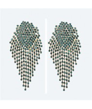 Glistening Rhinestone Bold Fashion Women Tassel Earrings - Blue