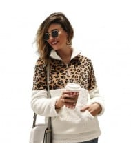 Leopard Prints Jointed Design High Fashion Hooded Long Sleeves Women Top - White