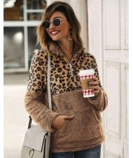 Leopard Prints Jointed Design High Fashion Hooded Long Sleeves Women Top - Khaki