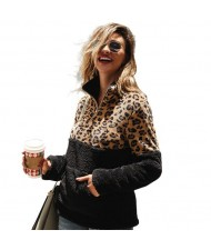 Leopard Prints Jointed Design High Fashion Hooded Long Sleeves Women Top - Black