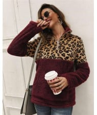 Leopard Prints Jointed Design High Fashion Hooded Long Sleeves Women Top - Wine Red