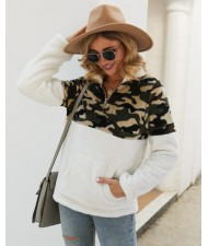 Camouflage Prints Jointed Design High Fashion Hooded Long Sleeves Women Top - White