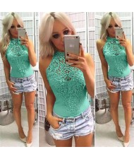 Floral Hollow Lace Design Sleeveless Women Tight Top - Green