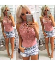 Floral Hollow Lace Design Sleeveless Women Tight Top - Pink