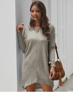 Casual Design Long Sleeves Winter Fashion Women Shirt/ Top - Gray