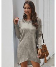Casual Design Long Sleeves Winter Fashion Women Shirt/ Top - Gray