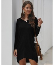 Casual Design Long Sleeves Winter Fashion Women Shirt/ Top - Black