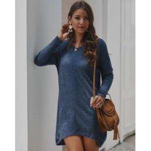 Casual Design Long Sleeves Winter Fashion Women Shirt/ Top - Ink Blue