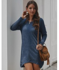 Casual Design Long Sleeves Winter Fashion Women Shirt/ Top - Ink Blue