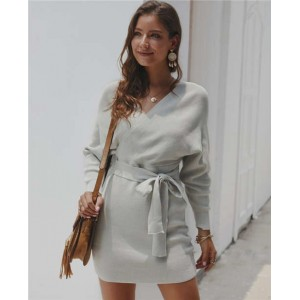 V-neck Waistband Decorated Winter Fashion One-piece Women Dress - Gray