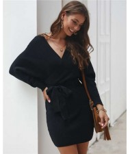 V-neck Waistband Decorated Winter Fashion One-piece Women Dress - Black