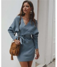 V-neck Waistband Decorated Winter Fashion One-piece Women Dress - Blue