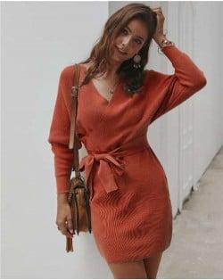 V-neck Waistband Decorated Winter Fashion One-piece Women Dress - Orange