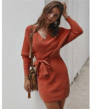 V-neck Waistband Decorated Winter Fashion One-piece Women Dress - Orange
