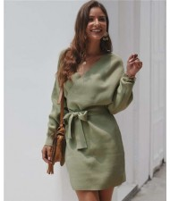 V-neck Waistband Decorated Winter Fashion One-piece Women Dress - Green
