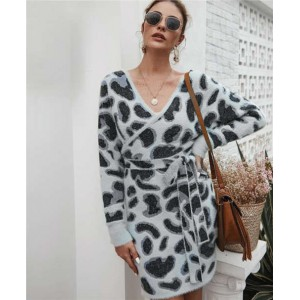 Leopard Prints V-neck Waistband Decorated Winter Fashion One-piece Women Dress - Gray