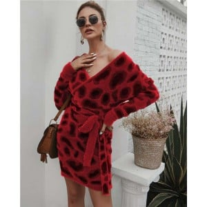 Leopard Prints V-neck Waistband Decorated Winter Fashion One-piece Women Dress - Red