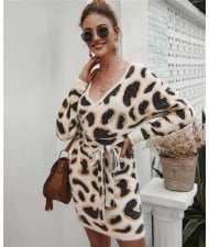 Leopard Prints V-neck Waistband Decorated Winter Fashion One-piece Women Dress - Apricot