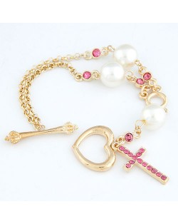 Sceptre Heart and Cross Pendants Pearl Fashion Bracelet
