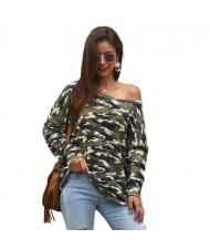 Long Sleeves Casual Style Camouflage Parttern Winter Fashion Women Shirt/ Top - Green