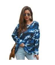 Long Sleeves Casual Style Camouflage Parttern Winter Fashion Women Shirt/ Top - Blue