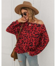 Long Sleeves Casual Style Leopard Prints Winter High Fashion Women Shirt/ Top - Red
