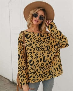 Long Sleeves Casual Style Leopard Prints Winter High Fashion Women Shirt/ Top - Yellow