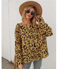 Long Sleeves Casual Style Leopard Prints Winter High Fashion Women Shirt/ Top - Yellow