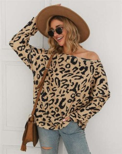 Long Sleeves Casual Style Leopard Prints Winter High Fashion Women Shirt/ Top - Apricot