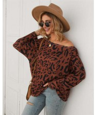 Long Sleeves Casual Style Leopard Prints Winter High Fashion Women Shirt/ Top - Brown